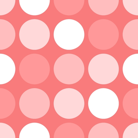 Tile vector pattern with white and pink polka dots on pink background Illustration