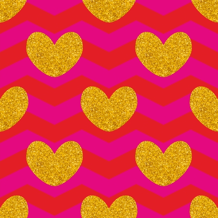 Tile vector pattern with golden hearts and pink zig zag background