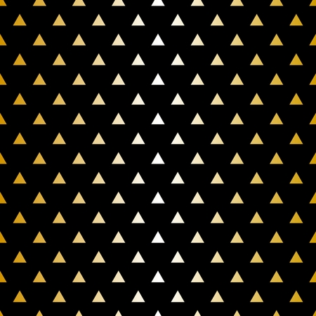 Tile vector pattern with golden triangle print on black background