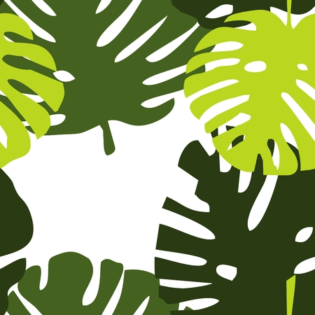 Tile tropical vector pattern with green exotic leaves Illustration