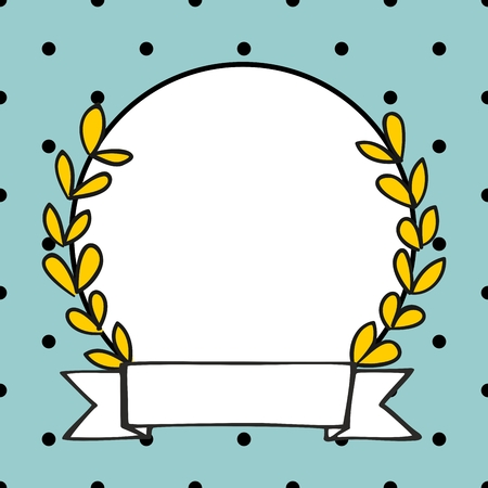 Laurel wreath photo vector frame with black polka dots on mint green background