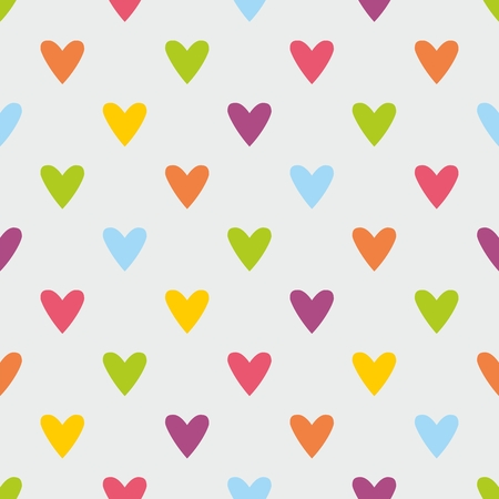 Tile vector pattern with sweet pastel hearts on grey background for seamless decoration wallpaper