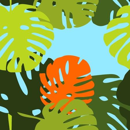tiling: Green exotic leaves on blue illustration.