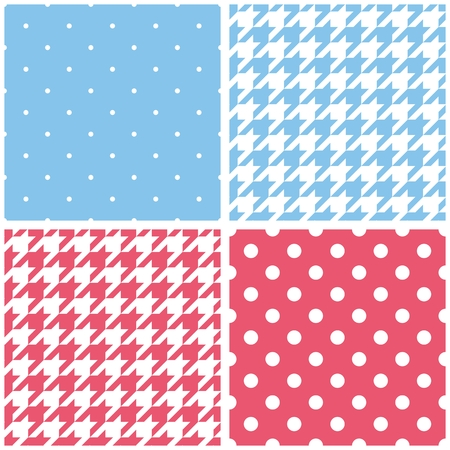 Blue, white and pink vector background set. Houndstooth and polka dots seamless pattern collection for desktop wallpaper or kids website design Illustration