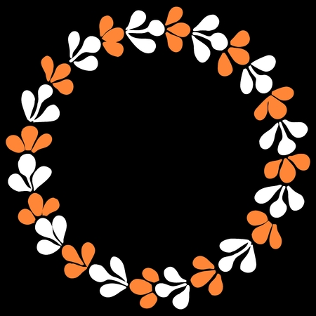 White and orange autumn vector wreath isolated on black background