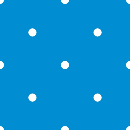Tile vector pattern with white polka dots on blue background