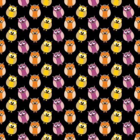 黒い背景にフクロウとのタイル パターン ベクトル