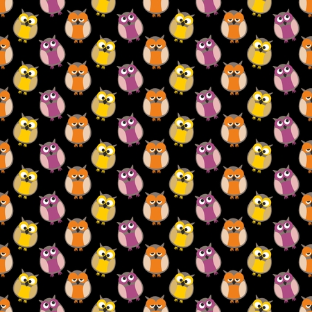 Tile vector pattern with owls on black background