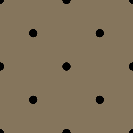Seamless vector pattern with black polka dots on tile brown background