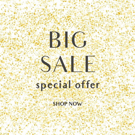 Big sale special offer vector sign with shop now text on golden background Vettoriali