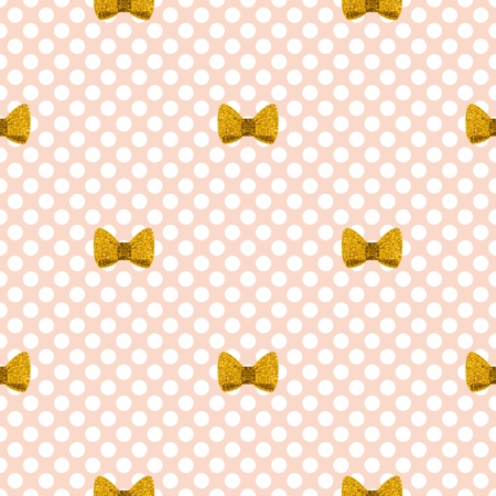 Tile vector pattern with golden bows on a pastel pink background with polka dots