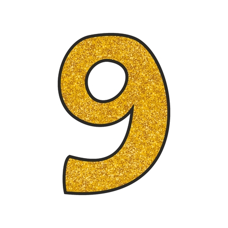 Hand drawn golden vector number 9 isolated on white background Vectores