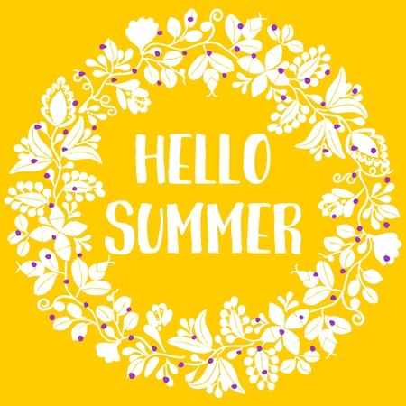 Yellow card with, Hello summer typography and wreath floral design.