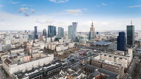 Aerial drone view from above of Warsaw city center skyline. Capital of Poland in Europe