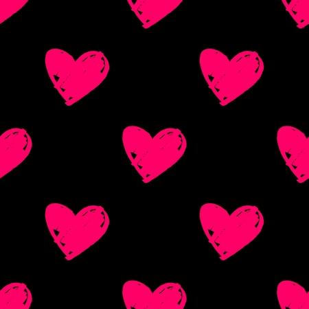 Tile vector pattern with pink hearts on black background illustration. Illustration