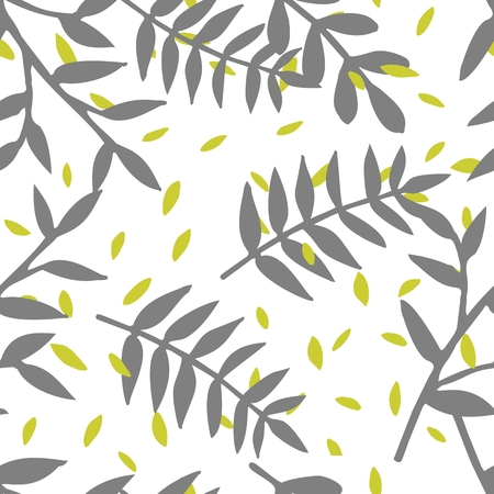 Tile tropical vector pattern with exotic leaves on white background