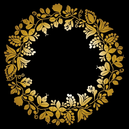 Golden vector wreath isolated on black background