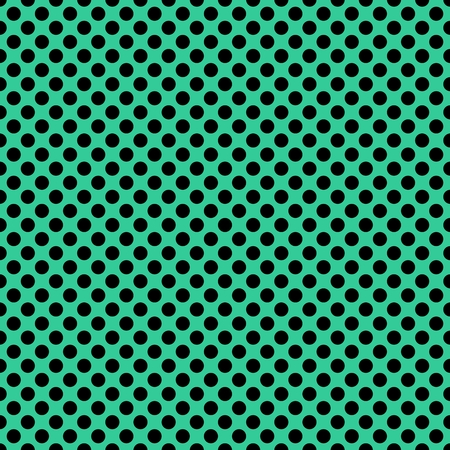 Tile vector pattern with black polka dots on mint green background or seamless decoration wallpaper Иллюстрация