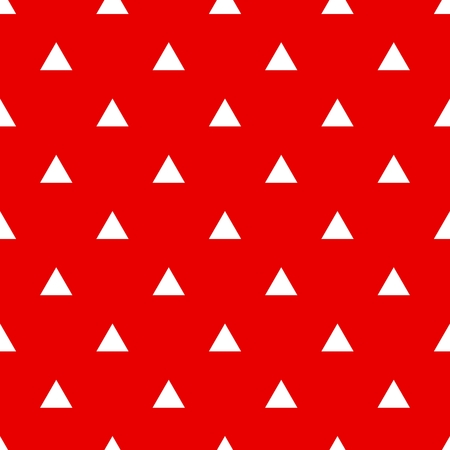 Tile vector pattern with white triangles on red background or seamless decoration wallpaper