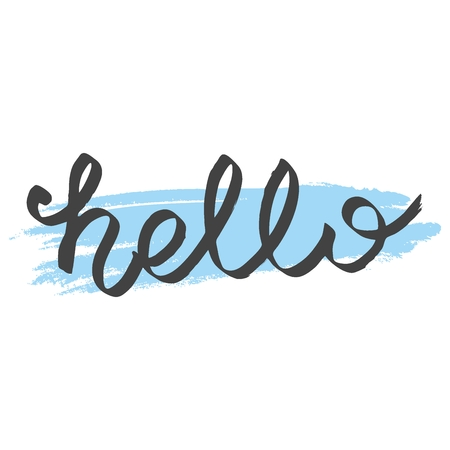 Hello simple lettering isolated on white background
