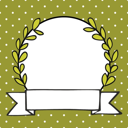 Laurel wreath decorative frame with white polka dots on green background