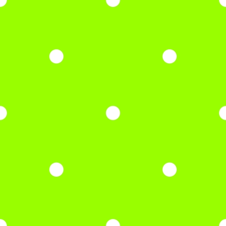 Tile vector pattern with white polka dots on neon green background Illustration