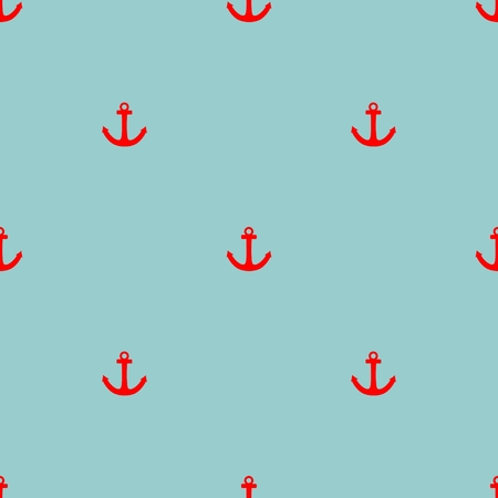 Tile sailor vector pattern with red anchor on pastel mint green background