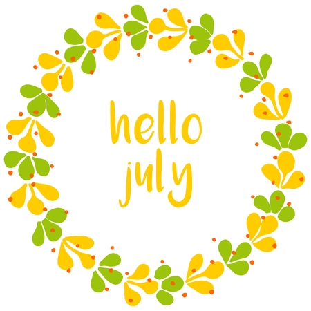 Hello july typography wreath sunny yellow and green vector card. Ilustrace