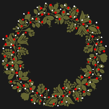 Green, white and red christmas vector wreath isolated on black background