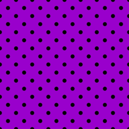 Tile vector pattern with black polka dots on violet background