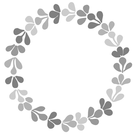 Grey laurel wreath vector frame on white background