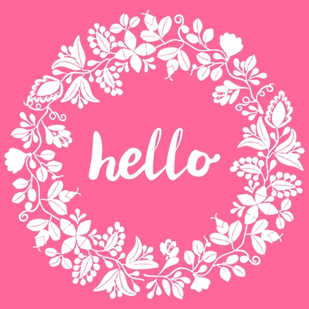 Hello, white laurel wreath vector frame isolated on pink background.