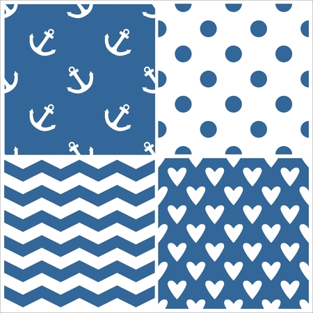 Tiled sailor vector pattern set