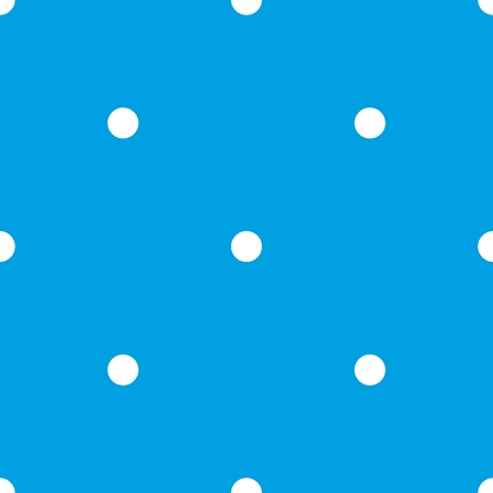 Tile vector pattern with cute white polka dots on blue background