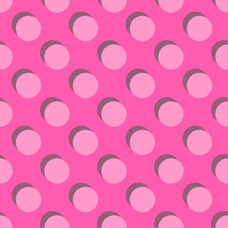 Tile vector pattern big pink polka dots with shadow on pastel background