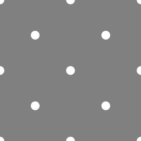 Tile vector pattern with white polka dots on grey background. Illustration