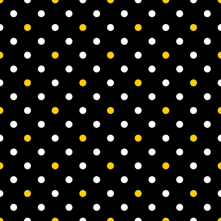 Tile vector pattern with white and yellow polka dots on black background