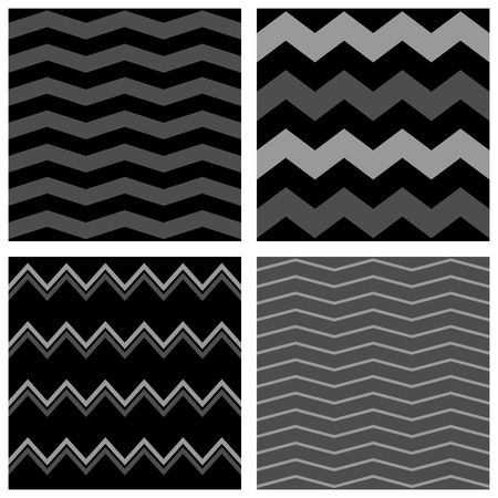 Tile vector pattern set with grey and black zig zag background