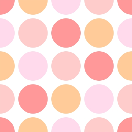 Tile vector pattern with white and pink polka dots on white background