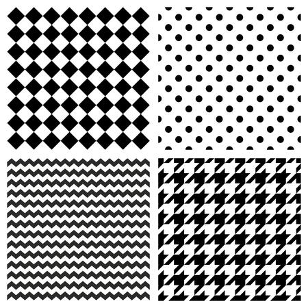 Reticolo di vettore delle mattonelle impostato con pois bianchi e neri, zig zag, dente di segugio e sfondo a strisce per carta da parati decorazione senza soluzione di continuità