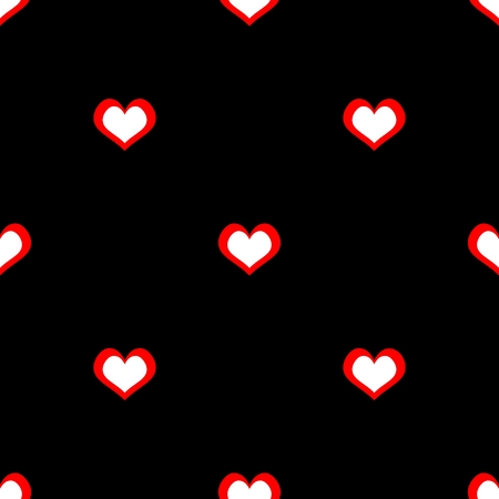 Tile vector pattern with red and white hearts on black background for seamless decoration wallpaper