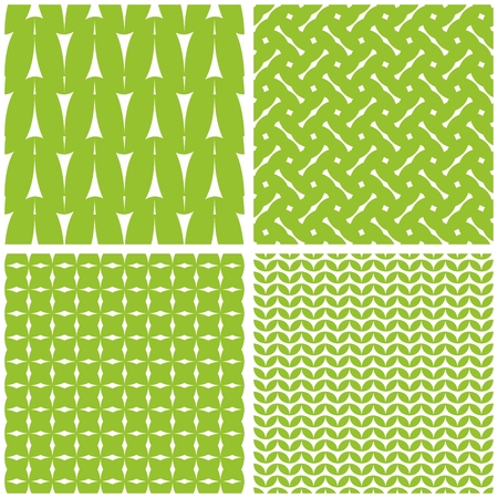 Tile vector set with white pattern on fresh green background