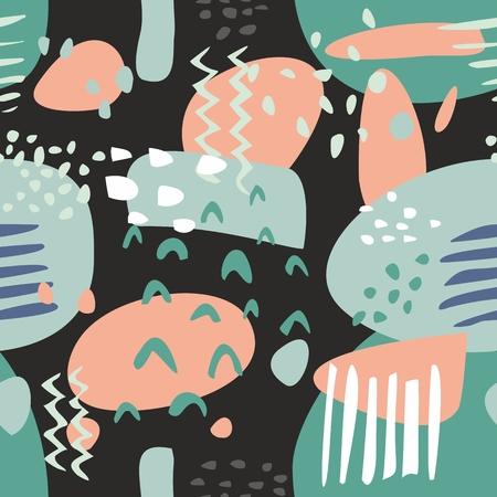 Tile abstract modern pastel vector pattern or hand drawn color splash on black background