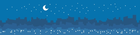 City by night vector illustration with skyscrapers and buildings silhouette, lights in windows, stars and moon.