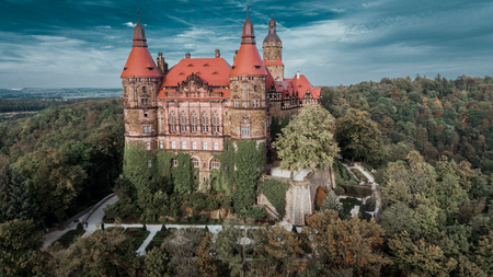 KSIAZ, POLAND - September 11, 2018: Castle in Ksiaz near Walbrzych drone aerial view