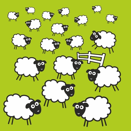 Pasture with fence and green grass full of sheeps. Insomnia vector illustration