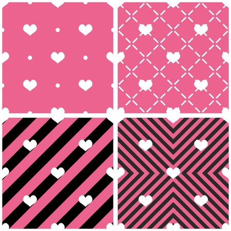 Tile vector pattern with hearts on pink and black background