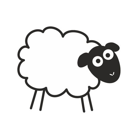 Surprised, staring sheep. Insomnia vector illustration isolated on white background Иллюстрация