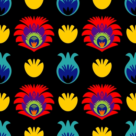 Polish folk tile vector pattern with traditional seamless colorful floral background