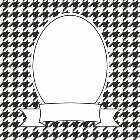 Hand drawn decorative photo vector frame on black and white houndstooth background
